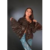 Кожаный пиджак-накидка женский «Grid»