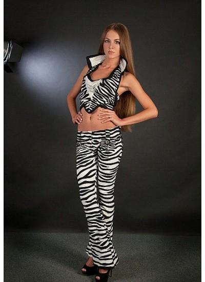 Коктейльный костюм «Striper» (костюм-«тройка»: топ, брюки, пиджак)