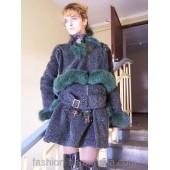 Куртка и юбка из ворсистой шерсти 'Green flowers'