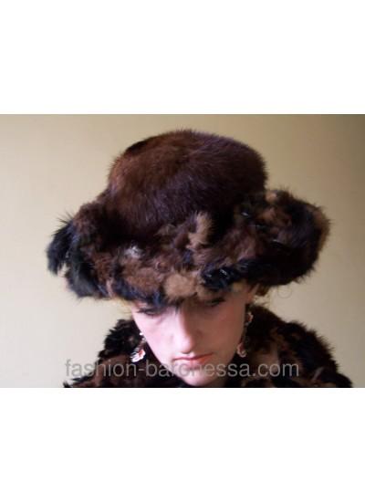 "Шляпа из норки ""Black patterns"""