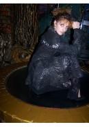 """Кожаный женский пиджак удлиненный """"Black grid"""""""