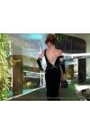 Вечернее бархатное платье + длинные перчатки «Emerald coast»
