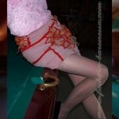 Юбка из стрейч-вельвета «Fire lilies»