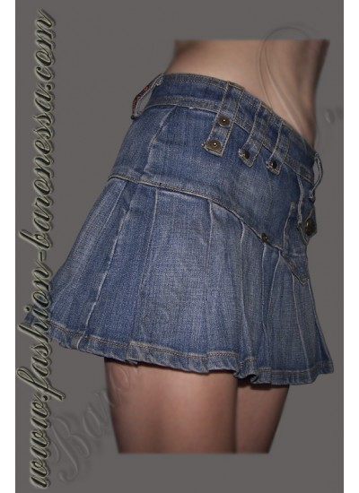 Мини-юбка джинсовая в складку «Denim pleats»